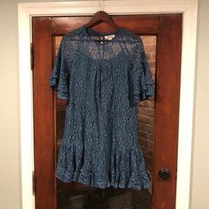 Francesca's lace blue lace mini dress S